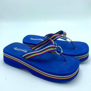 Vintage sketcher blue rainbow foam platform sandal